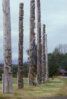 ✭ Six wooden totem poles stand in a row in Kitwanga, British Columbia