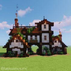 Casa Medieval Minecraft, Art Minecraft, Minecraft Building Guide, Minecraft Mansion, Minecraft Structures, Easy Minecraft Houses, Minecraft House Tutorials, Minecraft Plans, Minecraft House Designs