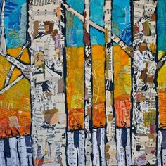 Paper Paintings collage paint birch trees art lesson project elementary
