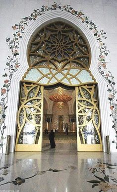 Beautiful Entrance of Shaik Zaid bin Sultan Mosque - Abu Dhabi