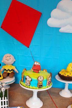 Cake from a Peanuts + Charlie Brown Birthday Party via Kara's Party Ideas | KarasPartyIdeas.com (21)
