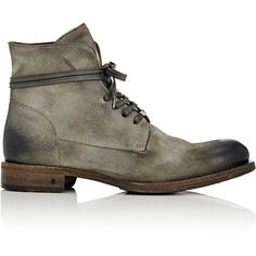 John Varvatos Men's Rivington Wire Boots ($700) ❤ liked on Polyvore featuring men's fashion, men's shoes, men's boots, dark grey, mens boots, mens shoes, john varvatos mens shoes, mens lace up boots and mens round toe cowboy boots