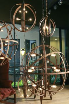 Sphere in Sphere Industrial Chandelier   From a unique collection of antique and modern chandeliers and pendants  at http://www.1stdibs.com/furniture/lighting/chandeliers-pendant-lights/