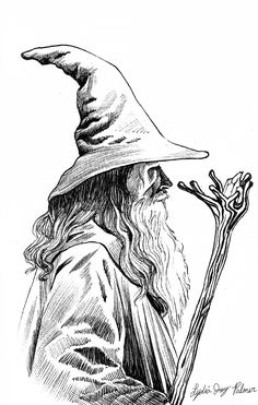 <img> An illustration of Gandalf by Lydia Joy Palmer. I think there& a great variation in line weight here. You can see the differences in the darker shaded points and the light lines of the beard. Wizard Drawings, Pencil Art Drawings, Drawing Sketches, Tattoo Sketches, Gandalf Tattoo, Tolkien Tattoo, Tatouage Tolkien, Mago Tattoo, Wizard Tattoo