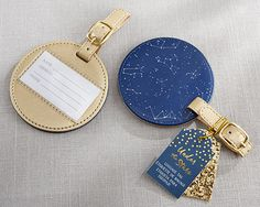 """""""Under the Stars"""" Navy and Gold Constellation Luggage Tag #luggagetag #wedding #partyfavors"""