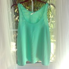 Frenchi Seafoam Green Top silky, soft, worn a few times, no flaws, in perfect condition! size small. green color. super cute! Frenchi Tops Tank Tops