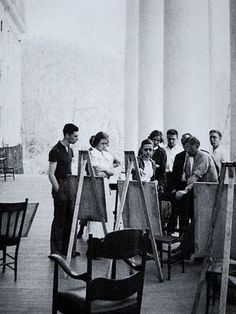 Josef Albers has class on the porch of Robert E. Lee Hall. Black Mountain College