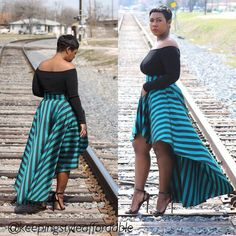 Black off the shoulder shirt with stripped high-low skirt