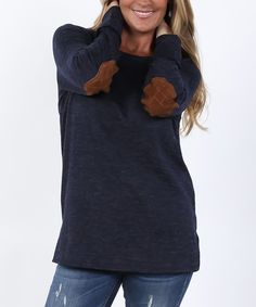 Coco and Main Navy Elbow-Patch Crewneck Sweater | zulily