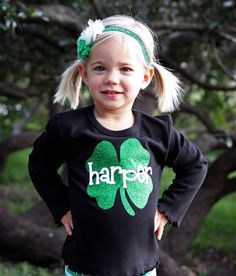 Black Tee with Green Glitter Shamrock and Name-st. patrick's day personalized custom name t-shirt