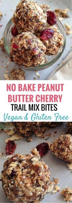 No Bake Peanut Butter Cherry Trail Mix Bites (Vegan, GF) - Bucket List Tummy