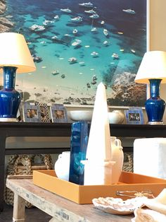 Slim Aarons, Spitzmiller lamps and obelisk decor at Mecox Dallas #interiordesign #home #decor #design #antiques