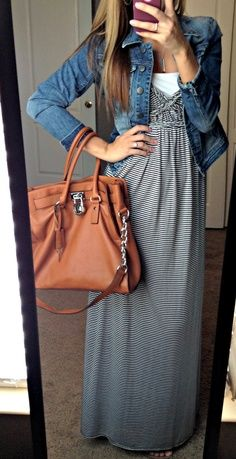 Summer maxi + denim jacket = fall outfit