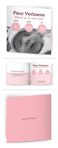 Bekijk de leukste kaartjes op onze site | http://www.kissgeboortekaartjes.nl | #baby #geboortekaartje  #kissgeboortekaartjes #meisje #foto #bol