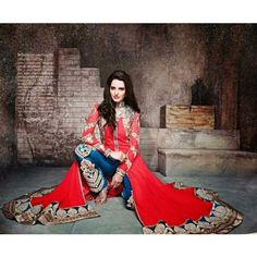 Anarkali style Semi-Stitched Salwar suit of kurta Red color and salwar of Blue color
