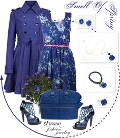 """""""Dream Fashion Jewelry Collection - Smell Of Spring - Blue"""" by dreamfashionjewelry ❤ liked on Polyvore"""
