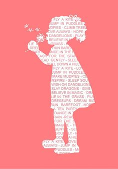 print silhouette typography vintage girl - featuring dreams for your child print in pink