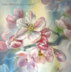 We present: Blooming Apple Tree - Lidia Olbrycht. One of the many paintings by Lidia Olbrycht. We encourage you to get acquainted with the entire portfolio. Apple Tree Flowers, Apple Tree Blossoms, Blossom Trees, Oil Painting Flowers, Painting & Drawing, Blooming Apples, Flower Landscape, Painting Gallery, Botanical Drawings