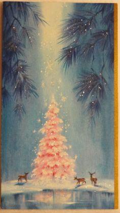 #449 60s Pink Glittered Tree & Deer in the Woods-Vintage Christmas Greeting Card