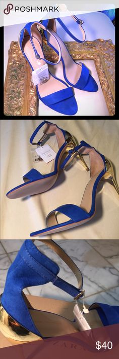Brand New Basic Zara Azul/Bleu/Blue Heels Fashionista idea heels to wear for a fun date or GNO! Or better yet wear for those Sunday brunches! A pretty blue suede like with gold accent on heels. Makes your feet look sexy!!! 👀 Buy me!!!👠 Zara Basic  Shoes Heels