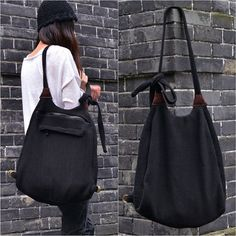 Handmade Black Knit 2 ways Bag Tote Bag and von unidostore auf Etsy