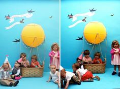 baby birthday party photo booth idea  Hot air balloon theme
