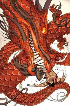 Wolverine vs. a Dragon - Ron Garney