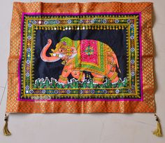 Hand block painted Indian elephant motif. Block painted sequin wall hanging tapestry for your home. Splendid wall hanging & Beautiful wall
