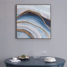 Blue Agate Abstract Canvas Wall Art With Gold Frame Abstract Canvas Wall Art, Art Pieces, Tapestry, Metal, Frame, Gold, Blue, Painting, Inspiration