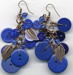Leafy blue buttons earrings by itsalovelycake, via Flickr