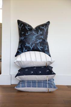 Blue stack of pillows. Blue Pillows, Throw Pillows, Decorative Pillows, Pillow Covers, Prints, Beautiful, Home Decor, Decorative Throw Pillows, Toss Pillows