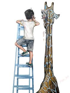 Giraffe illustration - Modern wall art - surrealism print - fine art print - living room decor - nursery decor - Eavesdropping