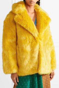 Saffron faux fur Concealed hook fastening at front 100% acrylic; lining: 100% polyester Dry clean Imported