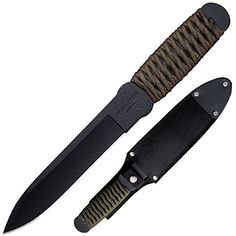 Cold Steel 80TFTCZ True Flight Thrower Survival Knife, Green/Black. Made from 1055 carbon steel. Finished with a black, baked-on protective coating. Serves as an excellent bush craft or survival knife.