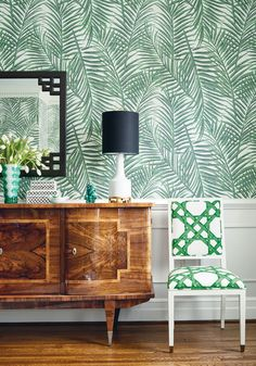 Lauderdale Chair in Cyrus Cane printed fabric in Emerald Green from Thibaut Fine Furniture