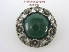 Estate NE FROM Sterling Silver 925S Modernist Flower Pin Dark Green Chrysoprase #NIELSERIKFROM