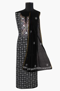 #Ada #handembroidered #MidnightBlack #Chanderi #Chikan #UnstitchedSuit Piece- A553434 offers a comfortable and relaxed silhouette to the wearer, the fabric and embroidery is skin friendly  #Adachikan #chikankari #chikanembroidery #chikanstitches