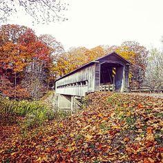 A beautiful covered bridge in the #fall near #Conneaut #Ohio