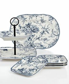 222 Fifth Serveware Adelaide Collection  sc 1 st  Pinterest & Adelaide 222 Fifth 16 Pc Dinnerware Set Blue u0026 White Square Toile ...