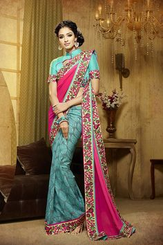 Sky Blue & Pink Color Georgette & Silk Fabric Saree