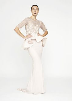 Can I please get married again so I can wear this peplum wedding dress by Rachel Gilbert??