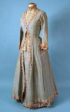 Dinner Dress, circa 1873, French. Labeled A. Corbay/4 Rue Ménars.