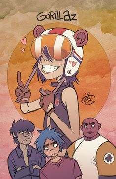 David Pulju on Etsy - AWESOME! Gorillaz Art Print free sticker included by EnjoyThisStuff on Etsy