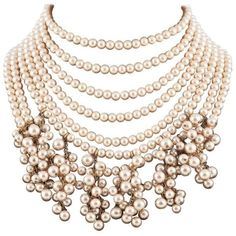 Preowned Impressive Multi Row Pearl Collar/choker, Chanel, 1980s. (17.295 NOK) ❤ liked on Polyvore featuring jewelry, necklaces, beige, multiple strand pearl necklace, fake pearl necklace, bridal pearl necklace, imitation pearl necklace and pearl costume jewellery