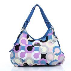 Coach Fashion Signature Medium Blue Shoulder Bags DZI Give You The Best feeling!
