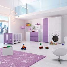 Habitaciones infantiles modernas y originales para bebés MODULAR PLAY. Cuna, cómoda infantil y armario con zona de juegos para que los más pequeños lo pasen en grande cada día