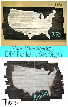 diy usa pallet wood sign pottery barn knockoff, diy home crafts, pallet projects. I like the DIY one better! Wood Pallet Signs, Pallet Art, Wood Pallets, Wood Signs, Diy Pallet, Pallet Ideas, Pallet Benches, Pallet Tables, Outdoor Pallet