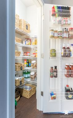 Nine Ideas to Organize a Small Pantry with Wire Shelving Organized pantry ideas for small reach-ins Small Pantry Closet, Small Pantry Organization, Small Kitchen Pantry, Kitchen Cabinet Organization, Home Office Organization, Pantry Ideas, Organized Pantry, Organization Ideas, Kitchen Organizers