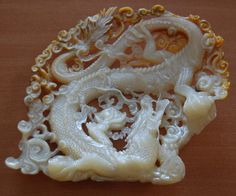 Mother of Pearl Shell Carving ~ Dragon Art, Master Carver