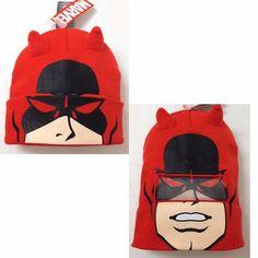 New DAREDEVIL ROLL-DOWN MASK BEANIE Orange-ish-Red Winter Knit Ski Hat Men/Women #Marvel #Beanie